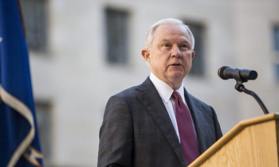 Attorney General Jeff Sessions speaks during a vigil ceremony marking the Sept. 11 terrorist attacks at the Department of Justice on Sept. 11, 2017. (Zach Gibson/Getty Images)