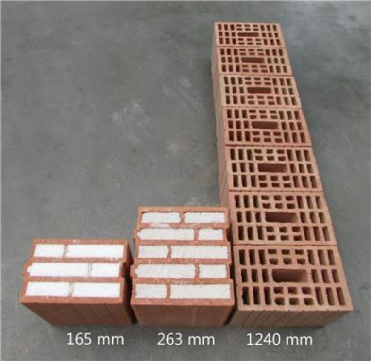 In order to achieve the same insulation values as a 165 mm thick wall of aerobricks, a wall of perlite bricks must be 263 mm thick - and a wall of non-insulating bricks even more than one meter!  Credit: Image courtesy of Empa