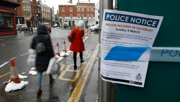 A police notice is attached to screening surrounding a restaurant which was visited by former Russian intelligence officer Sergei Skripal and his daughter Yulia. | Photo: Reuters